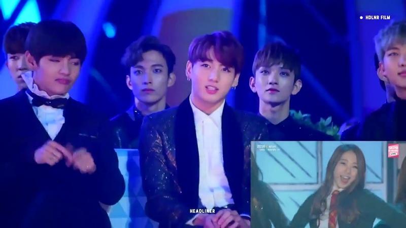 BTS SEVENTEEN REACT TO IOI @ MELON MUSIC AWARDS 2016 [HD]