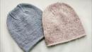 Макушка для шапки бини лицевой гладью Удлиненная макушка