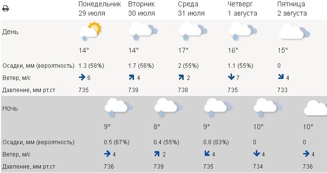 погода, чайковский район, 2019 год