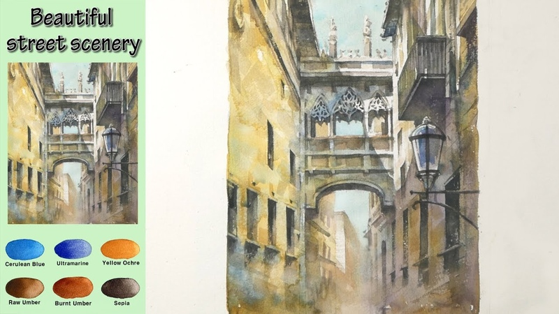 Landscape Watercolor- Beautiful street scenery (wet-in-wet. Arches rough) NAMIL ART