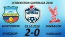 BUNYODKOR - NAVBAHOR 2-0 O'YIN SHARHI 25-TUR 03.10.2018 SUPERLIGA 2018