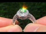 Certified SI1F Untreated Natural Diamond Engagement Wedding 18k White Gold Ring - C412