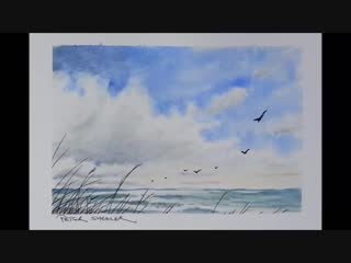 Simple Demonstration Painting Clouds and Waves in Watercolor. Minimum of colors. Peter Sheeler