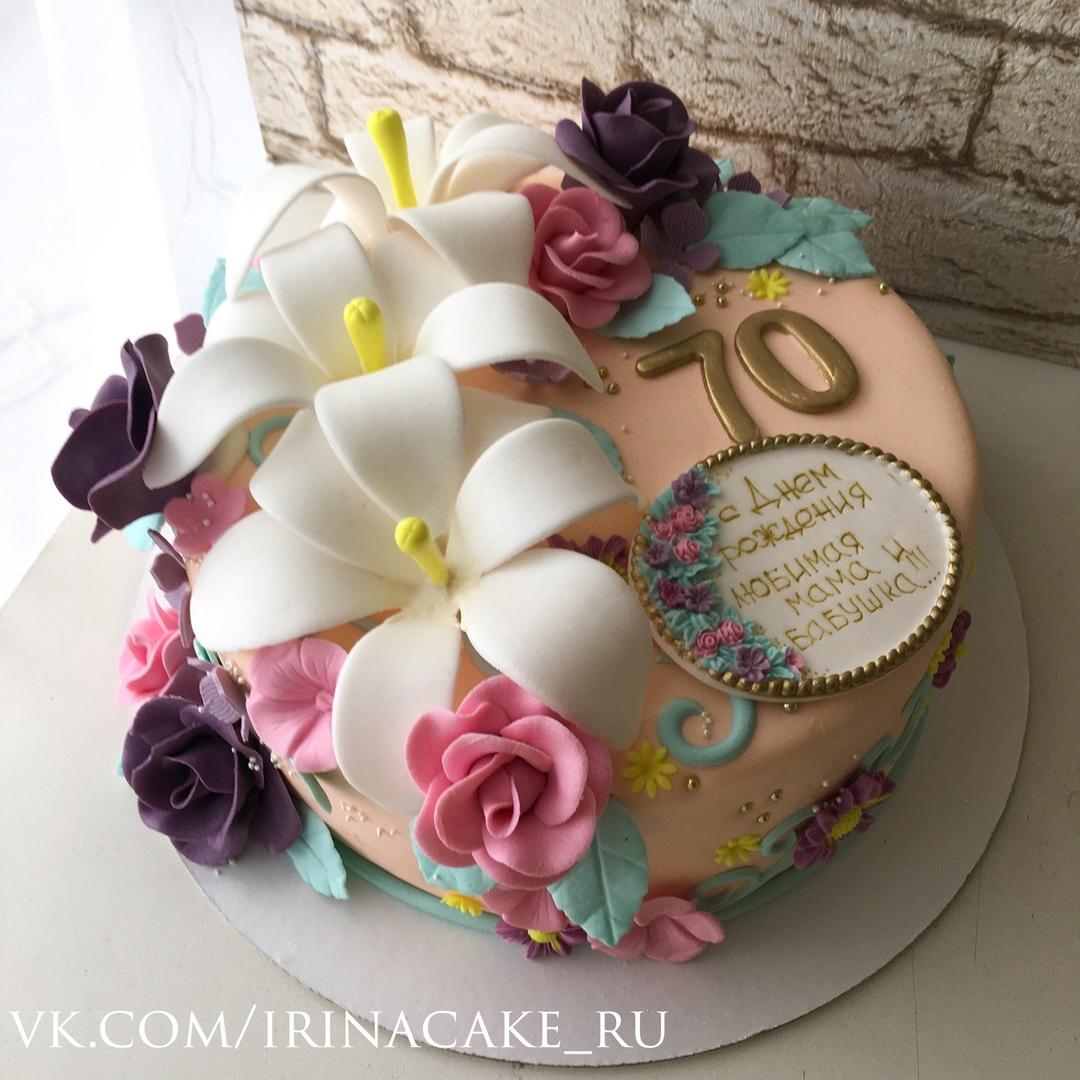 Торт для мамы с цветами (Арт. 444)