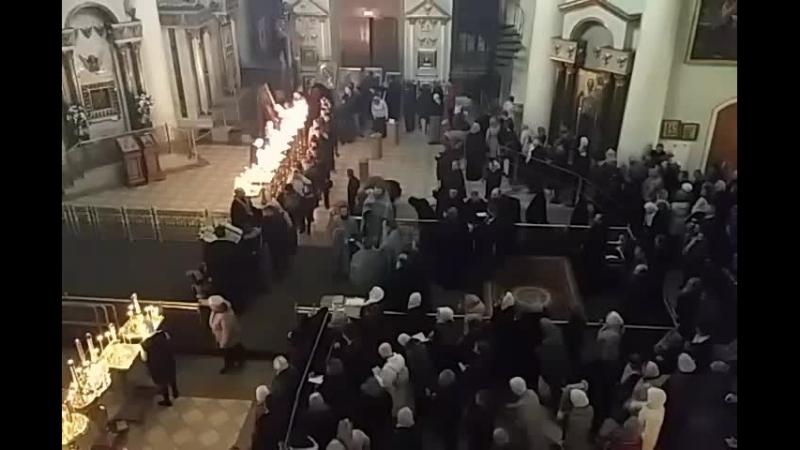 Знаменский собор Курск молебен с аккфистом перед иконой Знамение Курской Коренной