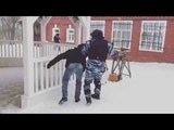 Slav soldier handling civilian