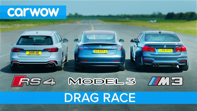 Tesla Model 3 vs BMW M3 vs Audi RS4 - DRAG RACE, ROLLING RACE BRAKE TEST