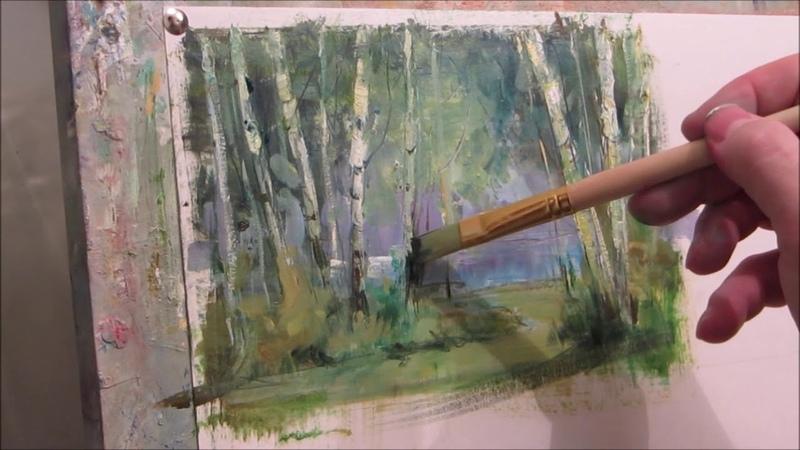 We draw birch. Oil.