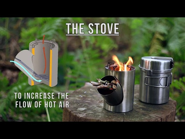 Kombuis a portable and efficient rocket stove cooking set.