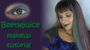 Beetlejuice inspired makeup tutorial! Green, purple and a striped eye liner!