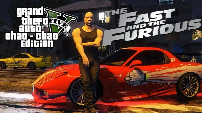 GTA 5 Dominic Toretto escapes from cops on Mazda RX 7 Afterburner VIN Diesel