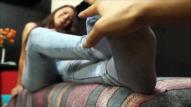 Please stroke and massage my sweaty socks