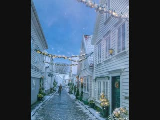 Christmas streets in the idyllic Stavanger🇳🇴 Europe's best preserved wooden house settlement with its more than 170 white wooden