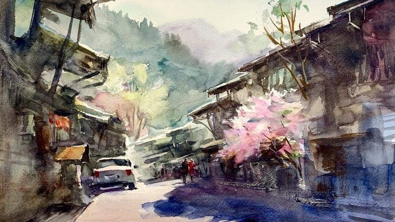 Beautiful old town Healing Watercolor Art Calming