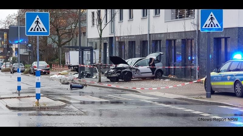 Fahrzeug rast in Bushaltestelle in Recklinghausen - mehrere Schwerstverletzte und eine Tote am Abend