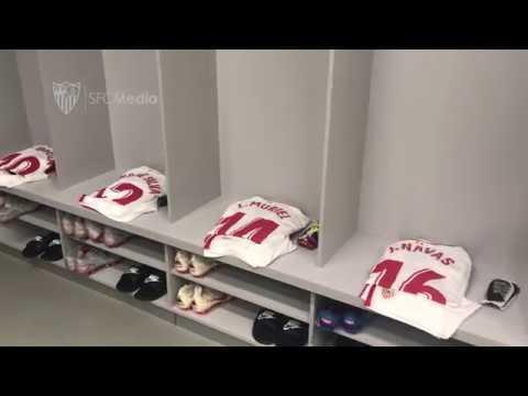 Ya está listo el vestuario del Sevilla FC para la cita de esta noche
