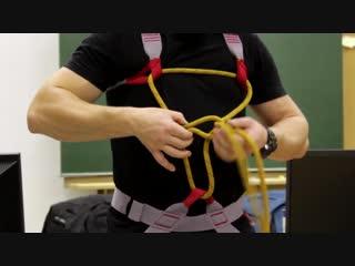 Надевание, настройка, блокировка, страховочной системы (двойной обратный булинь)