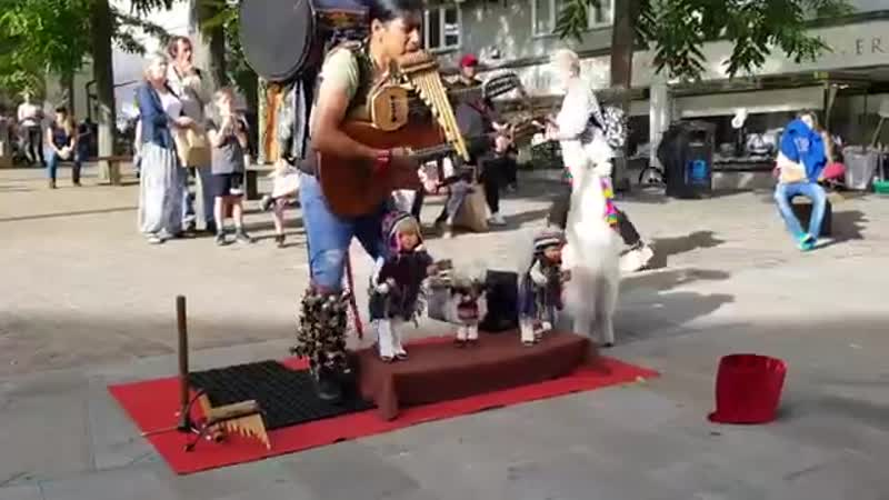 Peruvian One Man Band Busker Puppet, pan flute music, real talent addictive MU.mp4