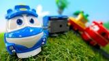 Роботы поезда и пропавшие вагоны. Видео на английском языке.