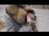 Пальто зима с енотом