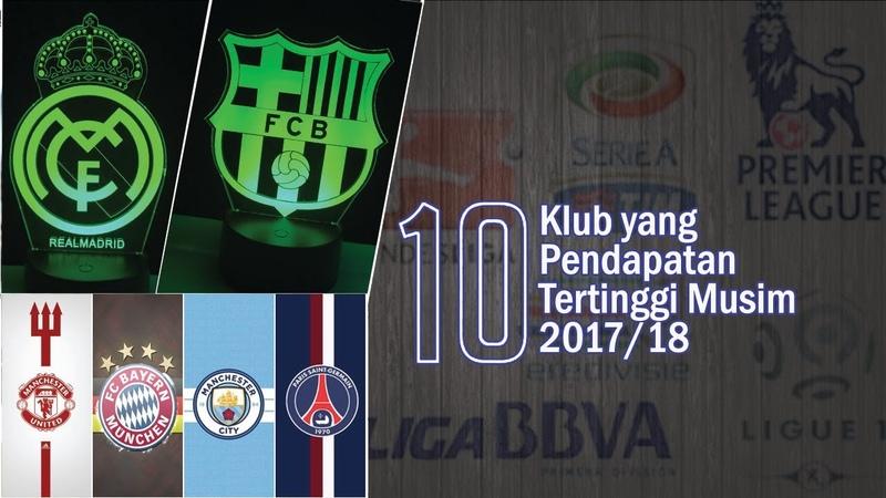 10 Klub dengan Pendapatan Tertinggi Musim 2017/18