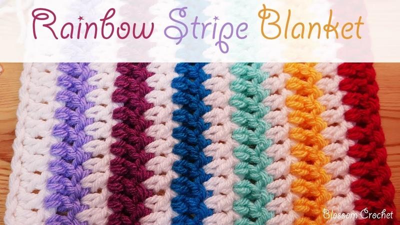 Easiest Crochet Blanket/ Scarf EVER: Rainbow Stripes