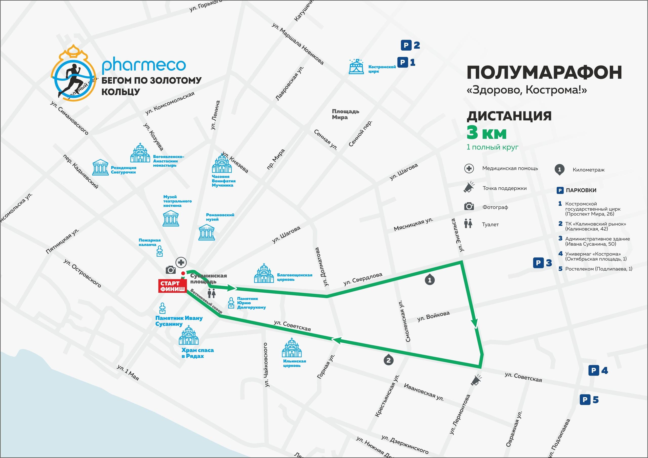 Карта дистанции 3 км Полумарафона Здорово, Кострома 2019