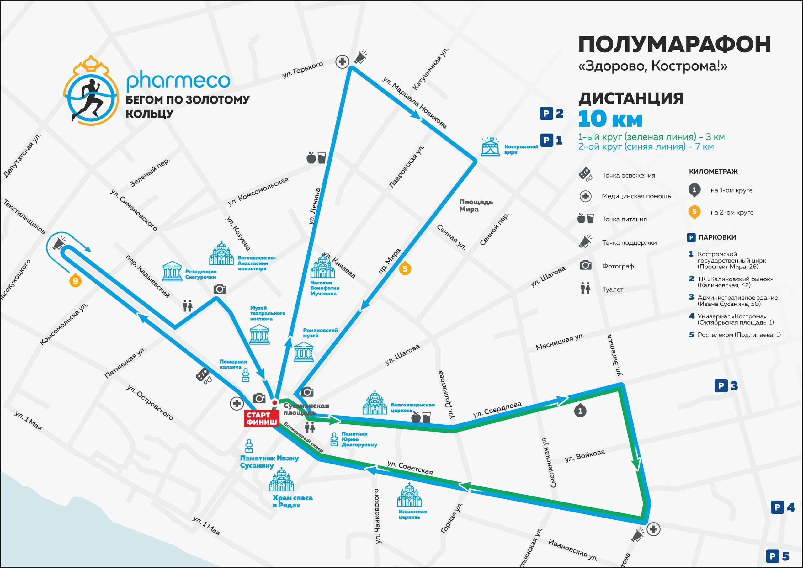 Карта дистанции 10 км Полумарафона Здорово, Кострома 2019