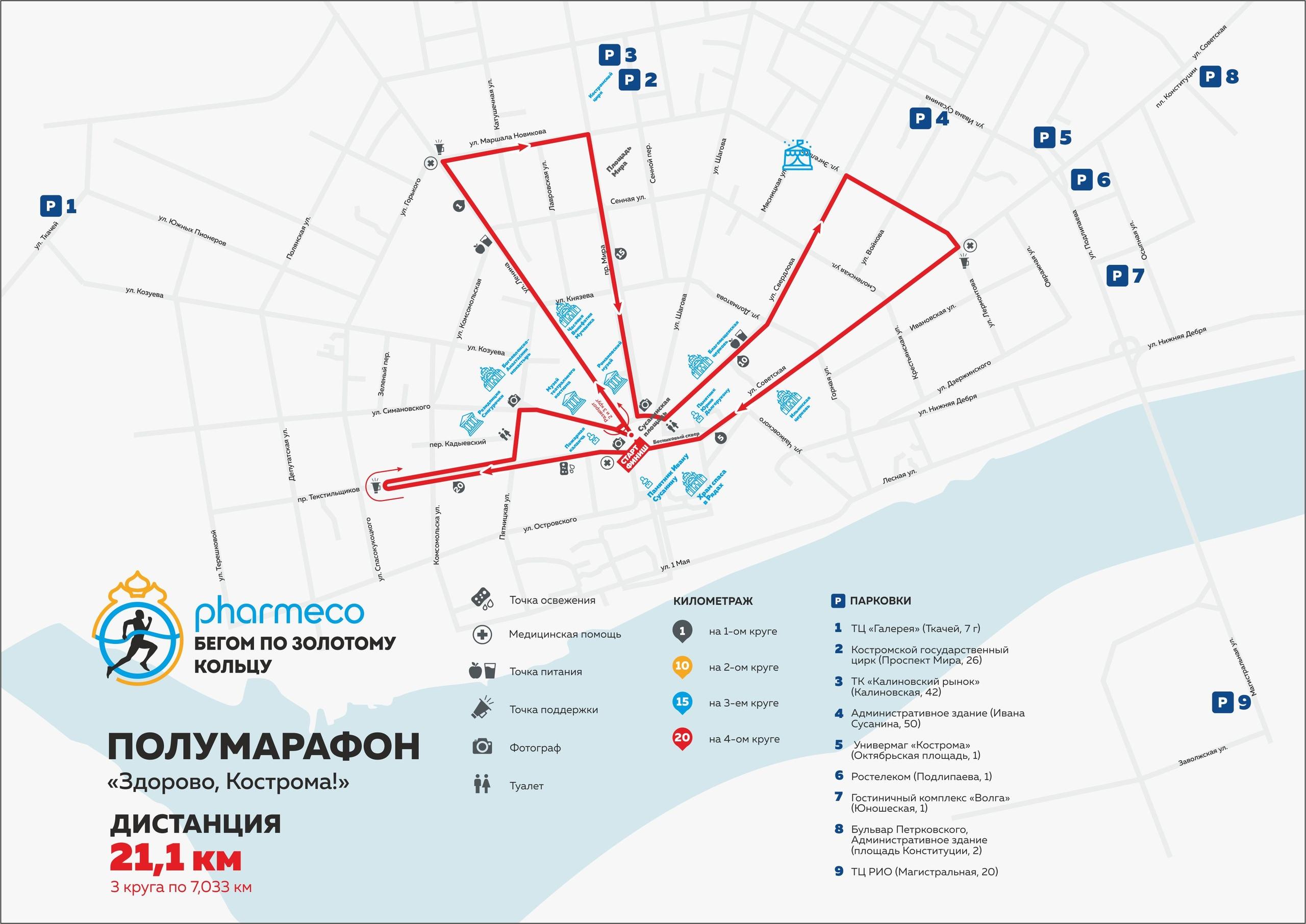 Парковки и зоны стартового городка Полумарафона Здорово, Кострома 2019