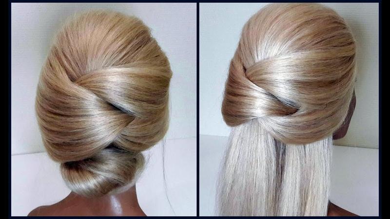 Пучок.Легкий вариант для создания самой себе Вечерней Прически.Easy evening hairstyle for yourself