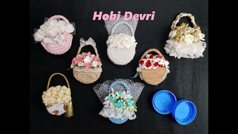 DIY Making Flower Basket With Plastic Bottles Cap Wedding Favors Baby Shower Kapaklardan Sepet