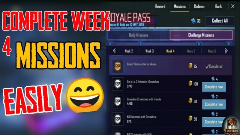 Easiest way to complete week 4 Rp mission in Pubg Mobile