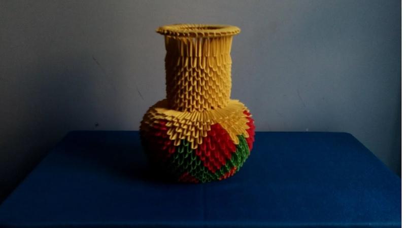 How to make a vase by 3d origami - hướng dẫn làm lọ hoa cổ dài bằng giấy gấp nghệ thuật origami 3d