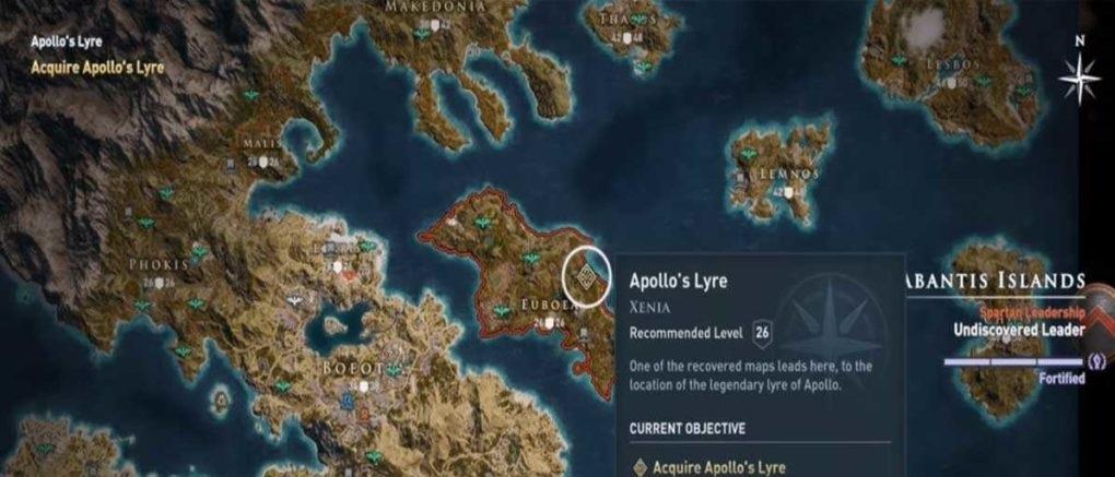 Лира Аполлона карта нахождения Assassin's Creed Odyssey