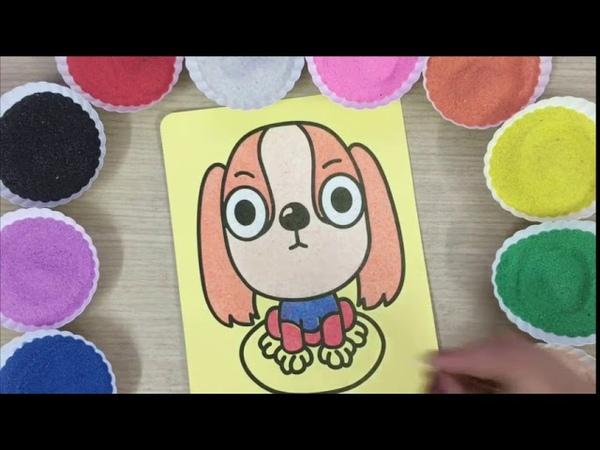 Con cò bé bé Tô màu tranh cát con chó con dễ thương vô đối - Comored sand painting dog