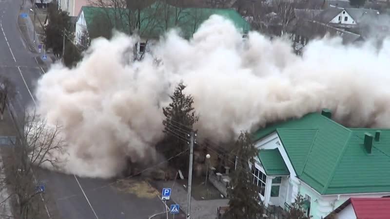 Снос здания в Ружанах 16.02.2019
