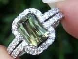 GIA Certified Top Gem Demantoid Garnet &amp Diamond Cocktail Ring Solid 18k Gold Estate Auction
