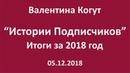 Истории Подписчиков Итоги за 2018 год Валентина Когут