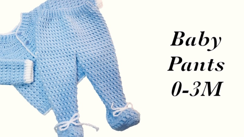 Baby Boy Set How to crochet newborn bean stitch baby pants with feet 0-6M Crochet for Baby172