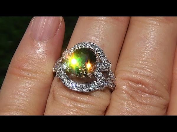 GIA Certified Natural Color Change FLASH Demantoid Garnet Diamond 14k Gold Ring - C317