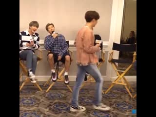 the interviewer asked if they've ever made a funny mistake on stage and hoseok just imitat