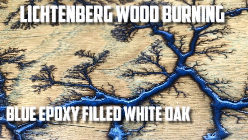 Lichtenberg Wood Burning Blue Epoxy White Oak