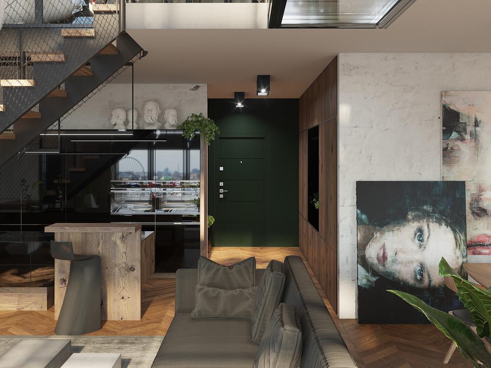 Проект интерьера двухуровневой квартиры от Оксана Цымбаловой