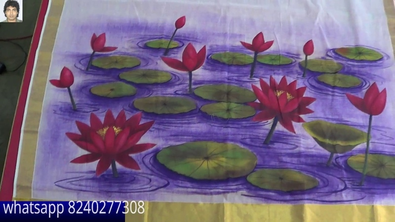 Fabric painting saree for Durga Puja Special tant saree painting online learning