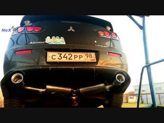 NeX® Mitsubishi Lancer X 2007+. Глушитель раздвоенный & насадки Ø101 мм. В фас