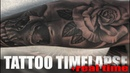 TATTOO TIME LAPSE SKULL and ROSE 20MINS REAL TIME CHRISSY LEE