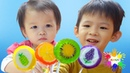 Glowing candy sticks Finger Family song of colorfull sweets Xavi ABCKids and cute baby Anna