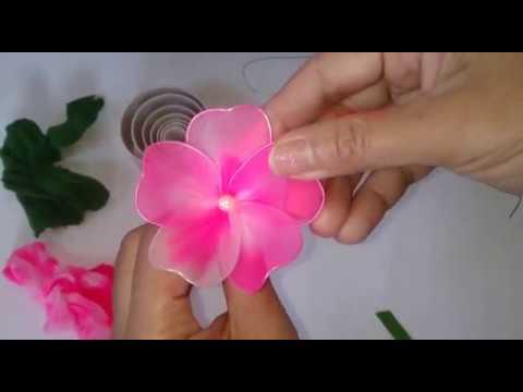 DIY    HOW TO MAKE NYLON STOCKING FLOWERS /CARA MEMBUAT BUNGA STOCKING ANGGREK PINK