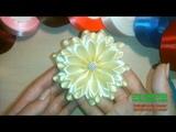 нежный и нарядный цветок. Канзаши bloemen van satijnen lint decoratie flori din panglica satinata
