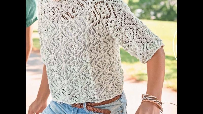 Ажурный узор спицами для пуловера. Разбираем и вяжем по схеме.